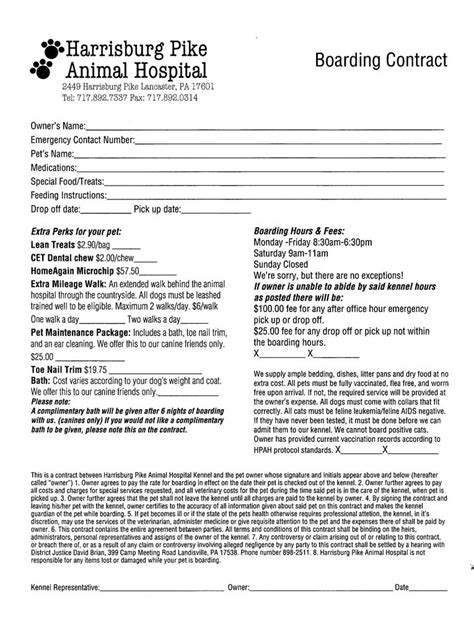 Dog Boarding Contract 11 Things That You Never Expect On Boarding Contract Template