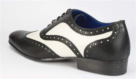 gangster shoes gatsby black white leather pointed toe brogue