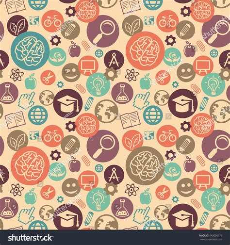 pattern education abstract vector seamless pattern education science icons stock