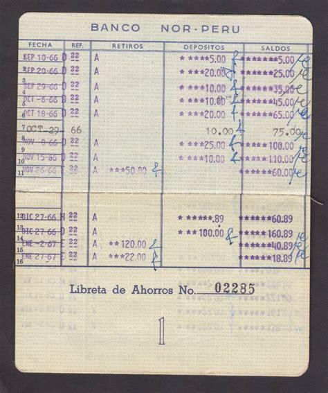 monto de pago de entrega de libreta libreta de ahorros del banco nor peru de chiclayo a 241 o 1966