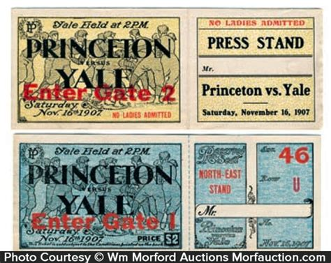 Princeton Advanced Search Antique Advertising Princeton Vs Yale Football Tickets Antique Advertising