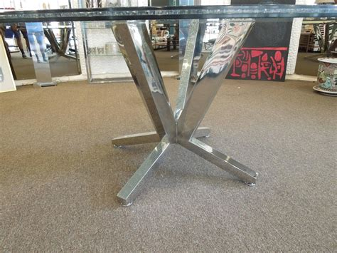 Crackle Glass Top Dining Table With Metal Base Ebth Contemporary Crackle Glass And Chrome Sculptural Dining Table At 1stdibs