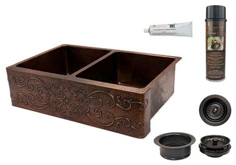 ka50db33229s copper sink w drain scroll dsng rustic