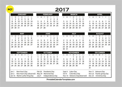 2017 Printable Calendar With Holidays » Calendar Template 2017