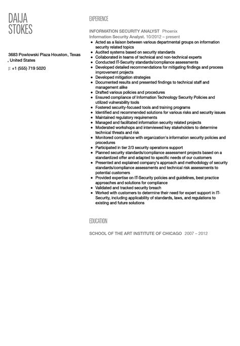 security analyst resume format information security analyst resume sle velvet