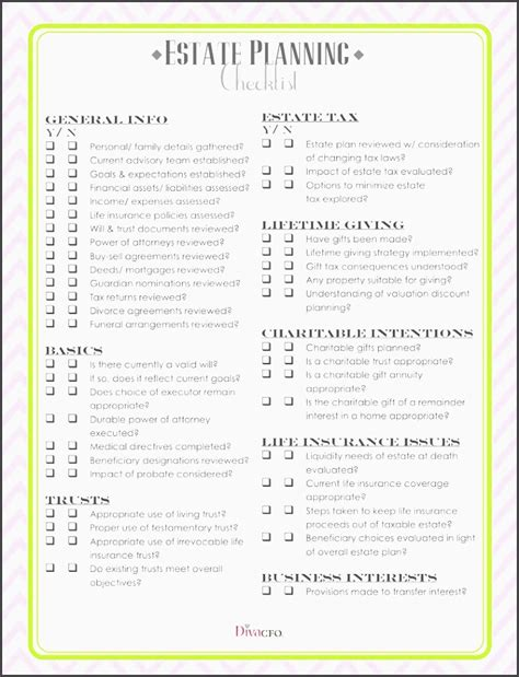 7 Estate Planning Checklist Exle Sletemplatess Sletemplatess Estate Planning Templates