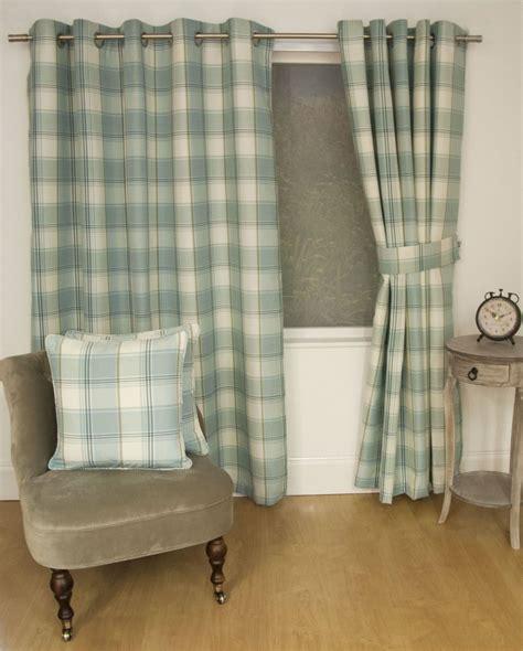 cream duck egg curtains jacquard tartan check duck egg blue lined ring top