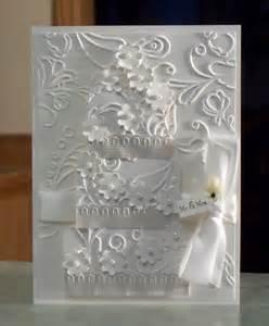 handmade wedding cards handmade white wedding card embossed three tier cake