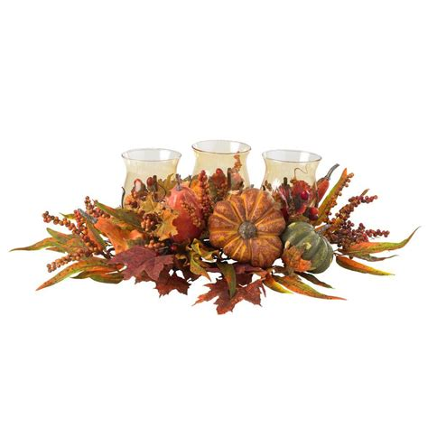 fall decorations holiday decorations the home depot nearly natural 30 in harvest triple candelabrum and