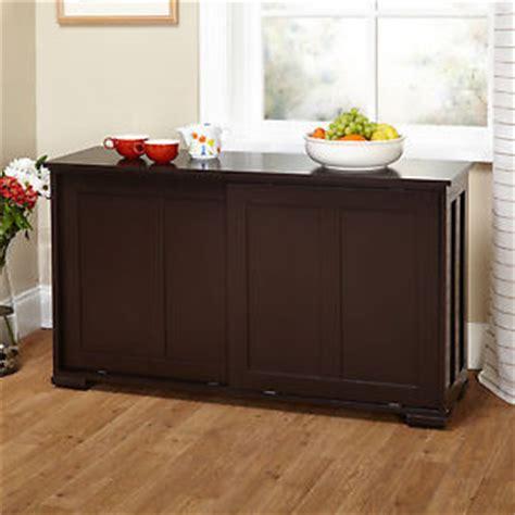 Dining Room Serving Cabinet Sliding Door Espresso Cabinet Storage Table Serving Buffet