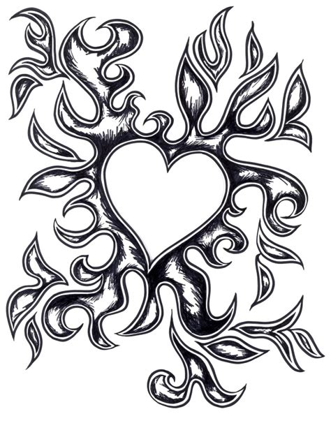 coloring pages of hearts with flames heart with flames drawings of hearts on fire free download