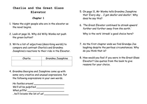 and the great glass elevator book report guided reading comprehension questions by jeebee