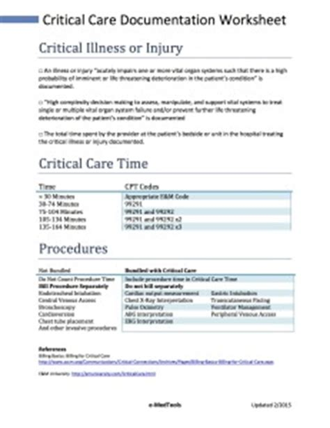 Critical Care Coding And Audit Worksheet Coding Standards Document Template