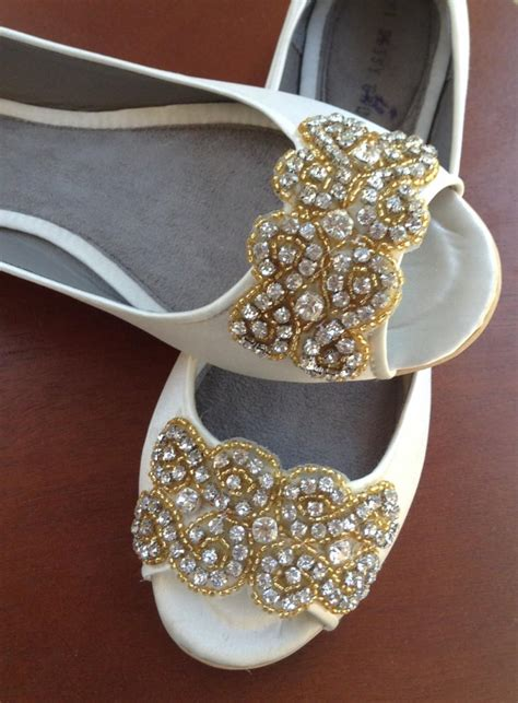 Gold Flat Bridal Shoes by Wedding Shoes Wedding Peep Toes Flat Wedding Shoes
