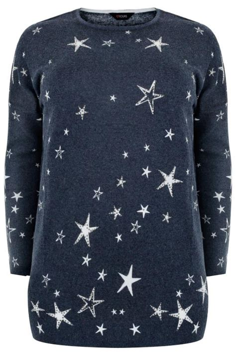 Kaos Print Navy Jumper navy embellished print knit jumper plus size 16 to 32