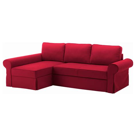 red ikea couch backabro sofa bed with chaise longue nordvalla red ikea