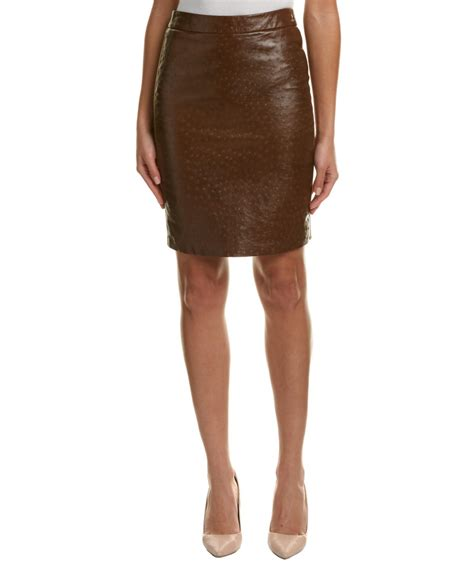 max mara leather wool pencil skirt in brown lyst