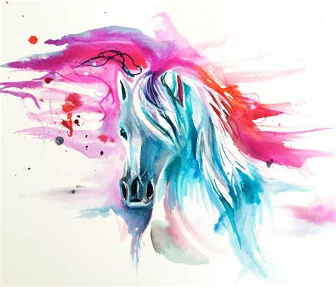 colorful horses colorful watercolor www pixshark images