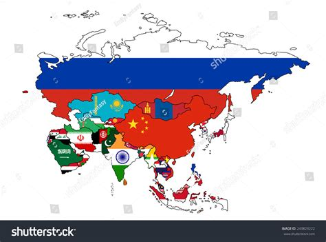 asian with colored asia flag map all countries of asia colored in with their