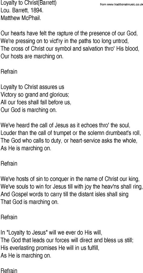 song to hymn and gospel song lyrics for loyalty to barrett