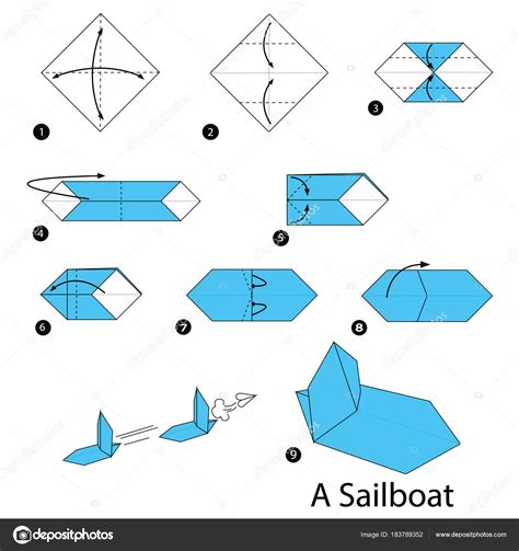 origami boat anleitung step step instructions how make origami sailboat stock