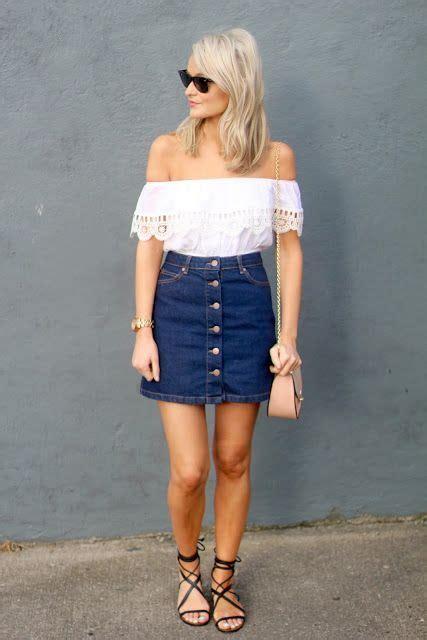 button  denim skirt     shoulders top