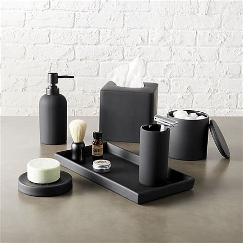 black bathroom accessories rubber coated black bath accessories cb2