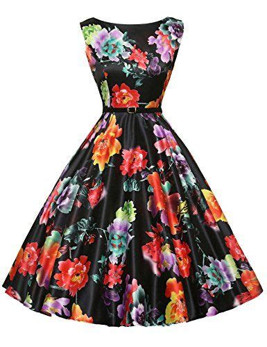 Blus Batik Pastel Gona sleeveless pin up vintage dress 50 s 60 s floral print xs