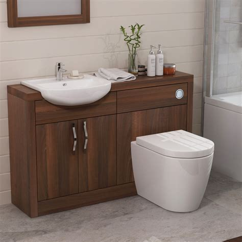 Walnut Bathroom Furniture Uk Lucido 1200 Vanity Unit Walnut Bathroom City