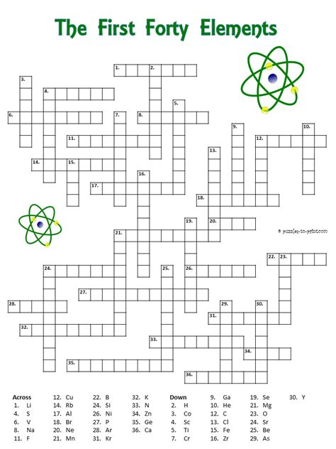 Periodic Table Crossword Answers by Pictures Periodic Table Puzzle Worksheet Getadating