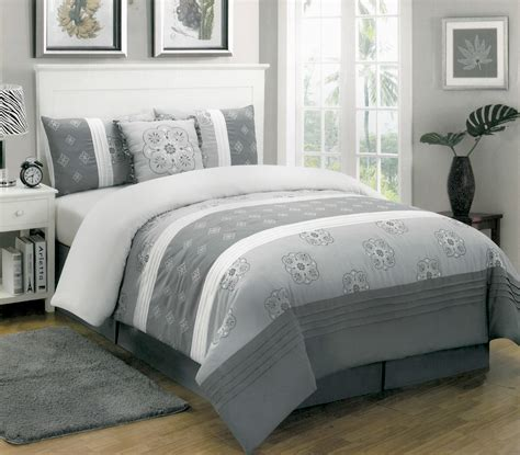 Gray Floral Bedding by 5 Cleo Grey Floral Print Comforter Set W Free