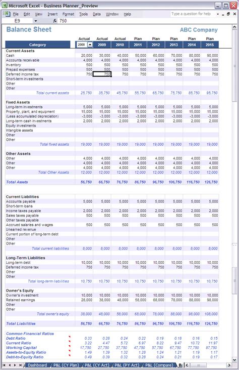 excel business planner balance sheet