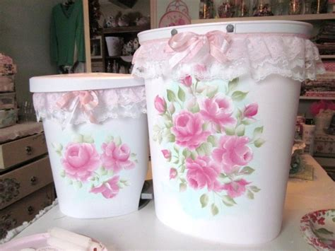 two shabby sweet chic trash cans bing with my handpainted