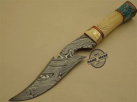Handcrafted Knives - amazing damascus bowie knife custom handmade damascus