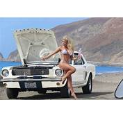 Colleen Shannon Shows Her Bikini Body Next To A 1966 Ford Mustang