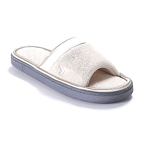 isotoner microterry slippers isotoner microterry satin slip on slippers boscov s