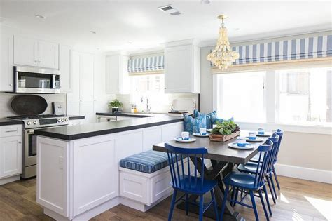 blue breakfast nook   shaped dining banquette