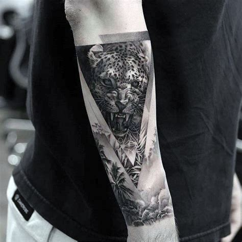 black and grey jungle tattoo 50 cheetah tattoos for men big spotted cat design ideas
