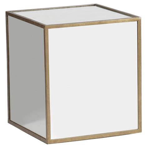 cube accent table morris modern classic mirrored cube end table kathy kuo home