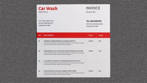 car wash invoice template car wash invoice template free premium templates