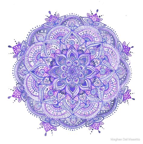 Teal Wall Art Stickers quot watercolour mandala purple quot by meghan dal masetto redbubble