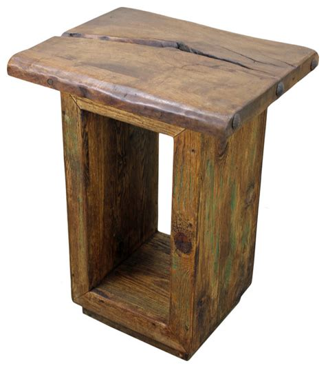 rustic wood accent tables mesquite wood cube side table rustic side tables and