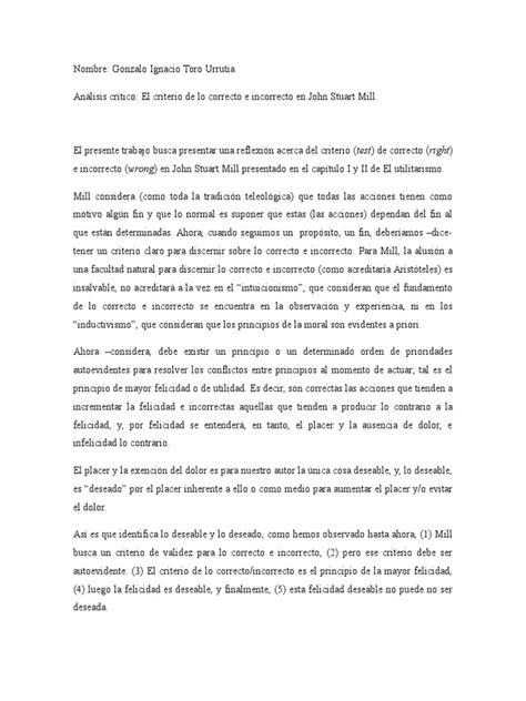 El Criterio de Lo Correcto e Incorrecto en Stuart M | John