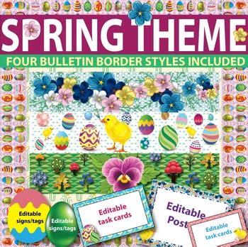 spring themed names spring easter classroom theme bulletin borders editable