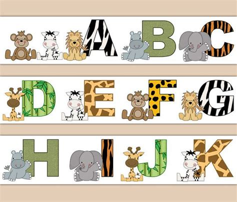 printable safari animal letters jungle safari decal animal alphabet wallpaper border wall