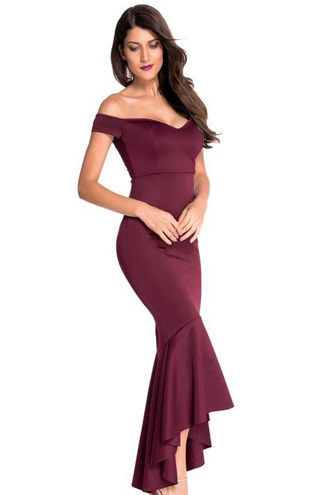 Dress Maroon Jersey wholesale maroon shoulder mermaid jersey evening dress