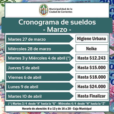 cronograma de sueldos de marzo 2016 en corrientes cronograma de sueldos de marzo de la municipalidad