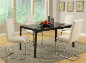 Black Glass Dining Room Sets by Modern Black Chrome Amp Glass Dining Table Chairs Dining
