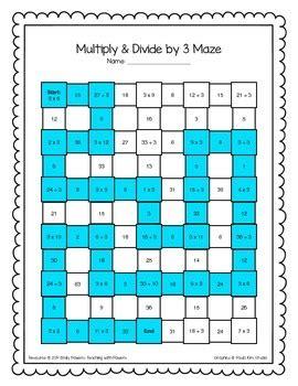 multiplication division math maze worksheets bundle