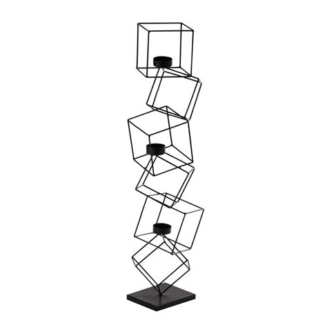 kerzenhalter metall kerzenhalter cubisme aus metall h 63 cm schwarz